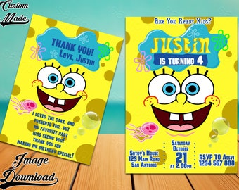 SpongeBob Invitation Party Printable Invite Birthday Card