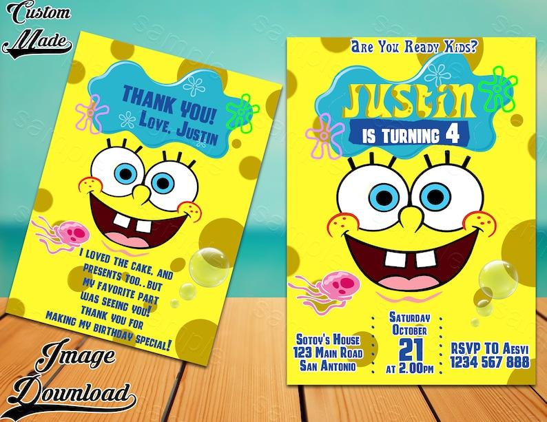 SpongeBob Invitation Party Printable Invite Birthday Card