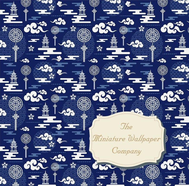 Dolls house 1//12th scale paper A4 sheet /'Blue damask pattern/' wallpaper