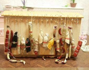 MTO - Complete Salami Set - Miniature Food In 12th Scale For Dollhouse - Dollhouse Miniature-Miniature Food - Miniature Meat