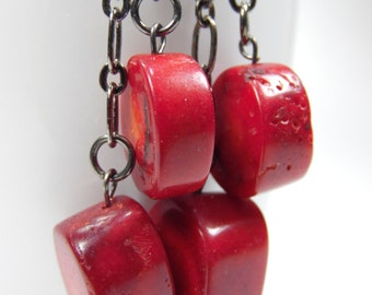 Hamas and red coral dangle earrings