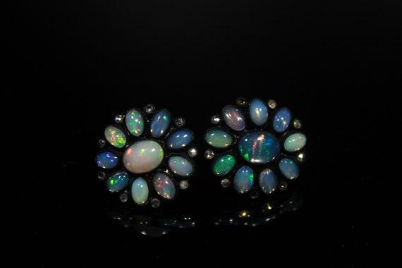 Ethiopian Opal AAA Welo Fire Earrings Handmade Diamonds Jewelry 925 Solid Sterling Silver With Black Rhodium Wedding Jewelry.