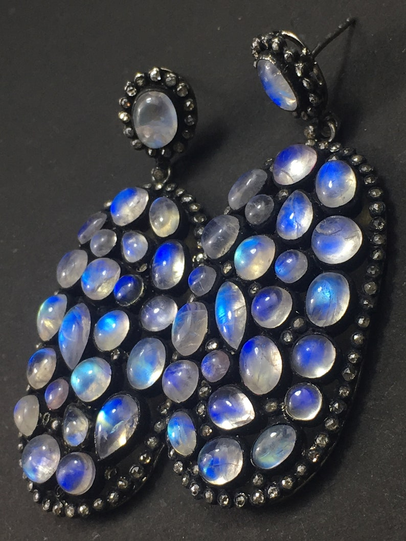 925 Solid Silver Black Rhodium Plated Rose Cut Diamond Studded /& Rainbow Moonstone Handmade Victorian Beauty Earrings Jewelry