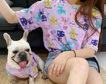 dd5c6316 Matching Pet Owner Set Pets Cat Dog Parent,Lightweight Purple Kitty Doodle  Print Clothing Tee Tshirt, Dog Cat Parents Matching shirts outfit