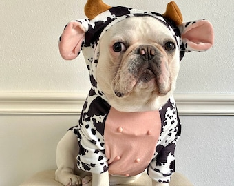 Dog Cat Pet Puppy Hoodie Dairy Cattle Milk Cow 3D Belly Nipples Funny Hooded Costume Pullover Sweatshirt