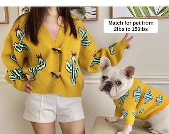 Matching Pet Owner Set for Pets Cat Dog Parent Cactus Print Sweatshirt Sweater Cardigan Jacket Mom Dad Twinning Outfit