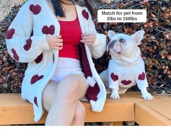 Matching Pet Owner Set Pets Cat Dog Parent Love Red Heart Shape Lover Valentine Soul Pet Family Match Twinning Sweater Cardigan