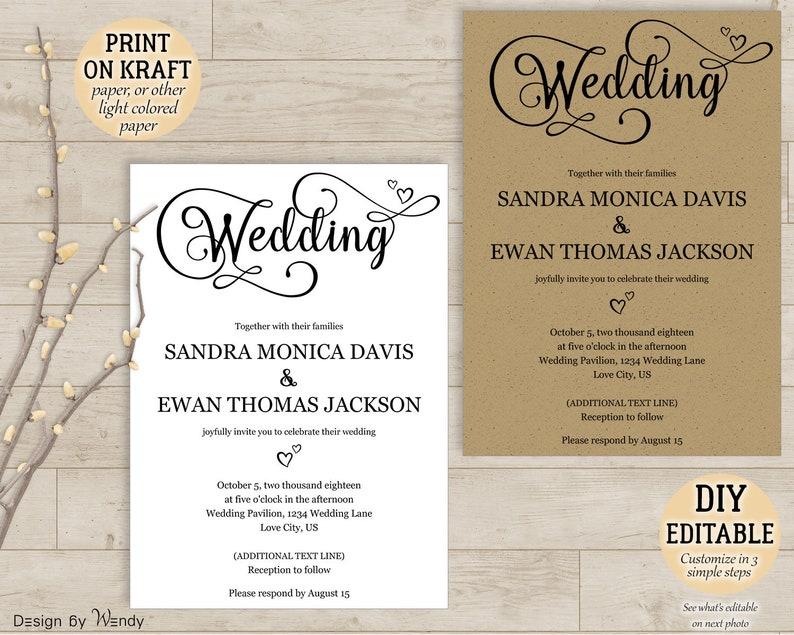 Calligraphy Wedding Invitation Editable Template Simple Diy Etsy