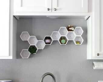 Printed Hexagonal Storage Shelves