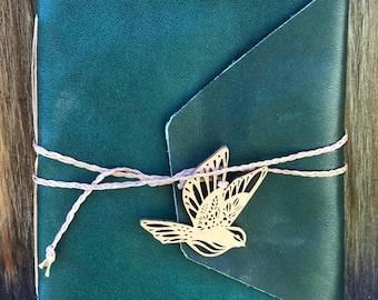 Hand Stitched Forest Green Lambskin Blank Journal Sketchbook
