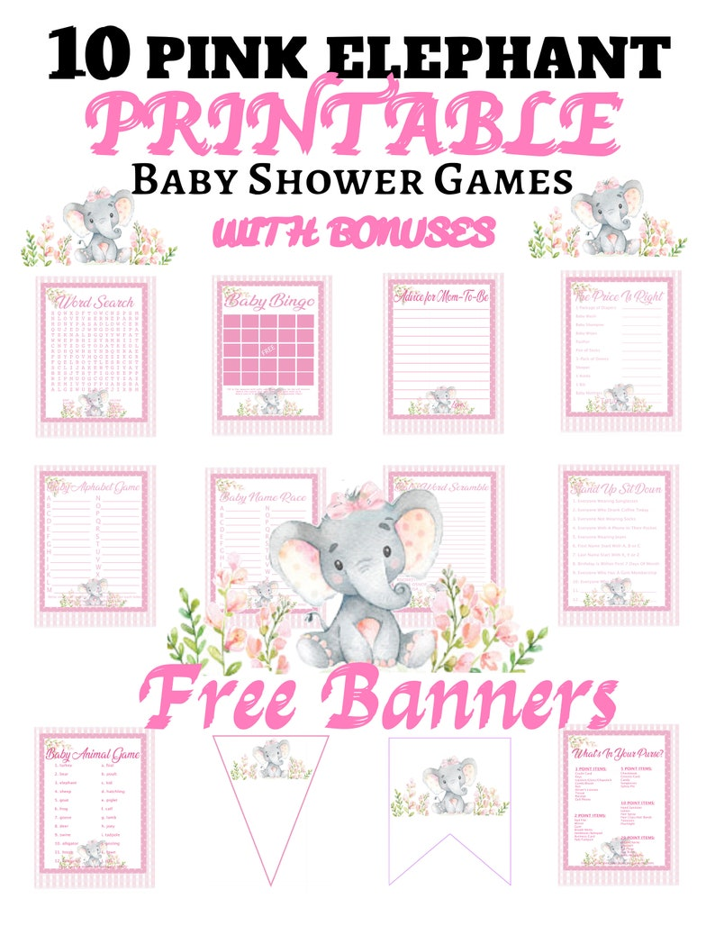 image about Free Printable Elephant Baby Shower titled Red Elephant Boy or girl Shower Online games/10 Activity Preset/As well as 2 Cost-free BANNERS/Fast Printable Obtain/Little one Shower Match Printable forGirl
