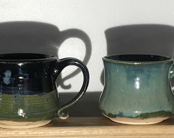 Assortment of Handmade Pottery Mugs with Mixed Crystal Glazing