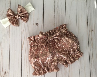 Rose Gold Sequin Bubble Shorts, Baby Shorts, Custom Shorts, 6-9 Months Shorts, Custom Clothing, Rose Golf