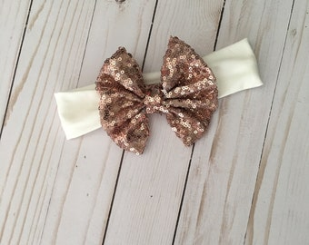 Rose Gold Sequin Bow Headband