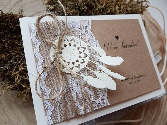 10x Einladungskarten Zur Hochzeit Boho Kraftpapier Etsy