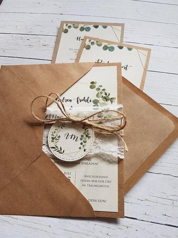 10x Einladungen Zur Hochzeit Aus Kraftpapier Eucalyptus Grune Etsy