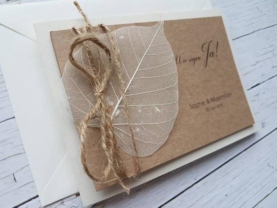 10x einladungskarten zur hochzeit boho kraftpapier etsy. Black Bedroom Furniture Sets. Home Design Ideas