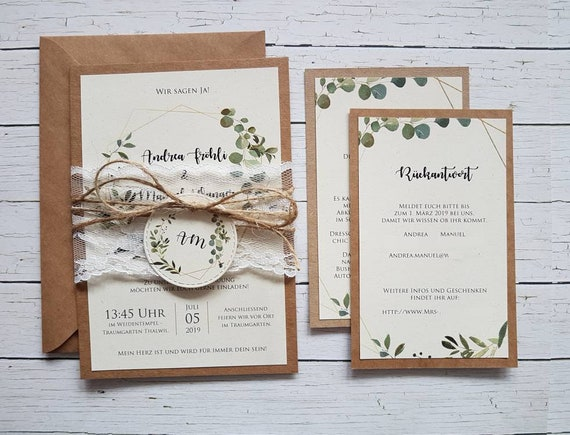 10x Einladungen Zur Hochzeit Aus Kraftpapier Grune Pflanzen Etsy
