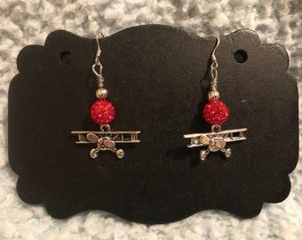 Stearman- Biplane- Red Bling Bead- Airplane Earrings