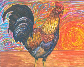 Rooster At Dawn Illustration Art Poster