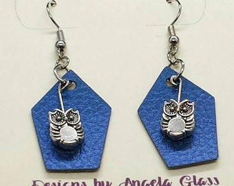 Shimmery blue earrings with owl accents