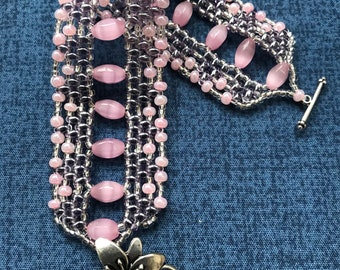 Pink and Silver Super Duo Beaded Bracelet