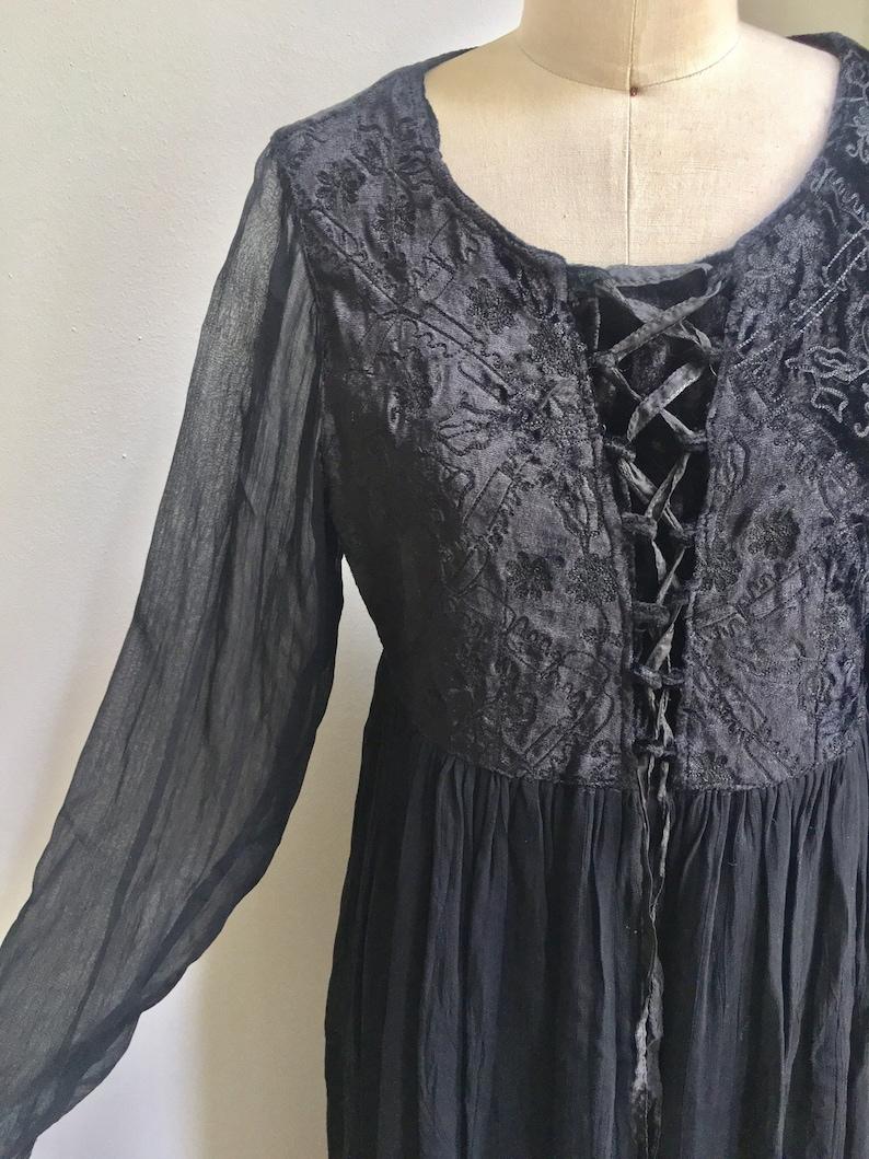 43e3f44eb2 Vintage Indian Rayon Black Maxi Dress / Boho Festival Gypsy | Etsy