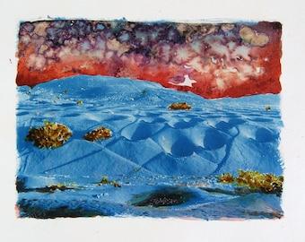 La Geria in Lanzarote - cyanotype and watercolor