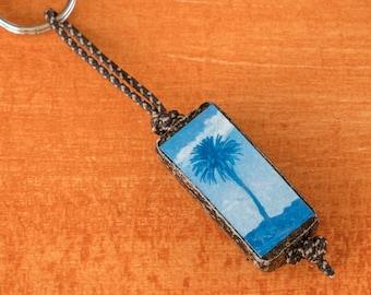 Cyanotype Palm Keyring, brown finish