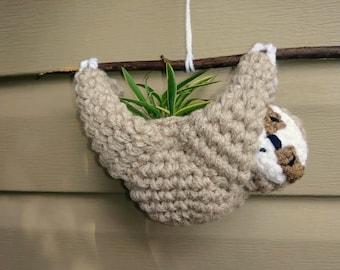 Sloth Plant Holder; Sloth Planter; Hanging Succulent Planter; Crochet Sloth; Sloth Plant Holder; Birthday Gift; Summer; Air Plant
