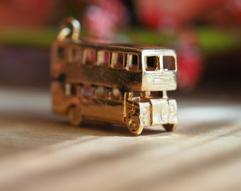 Adorable and Sophisticated 10kt Yellow Gold Double Decker Bus Charm