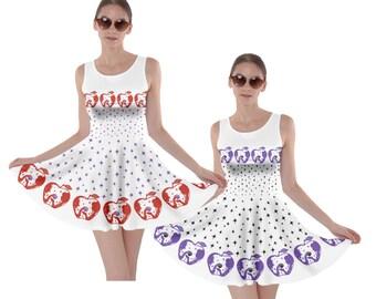 Snow White Poison Apple Starburst Novelty Border Print Dress Made to Order (Ships in 6 weeks)