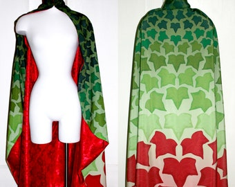Poison Ivy Green Red Leaf Cosplay Comic Book Cloak Cape