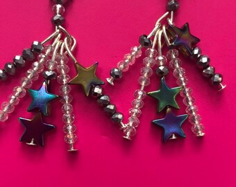 d555cb9e45bfa9 Shooting star dangle earrings, crystal earrings, silver earrings, beaded  earrings
