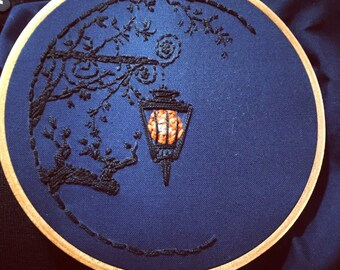 Hand embroidered night scene