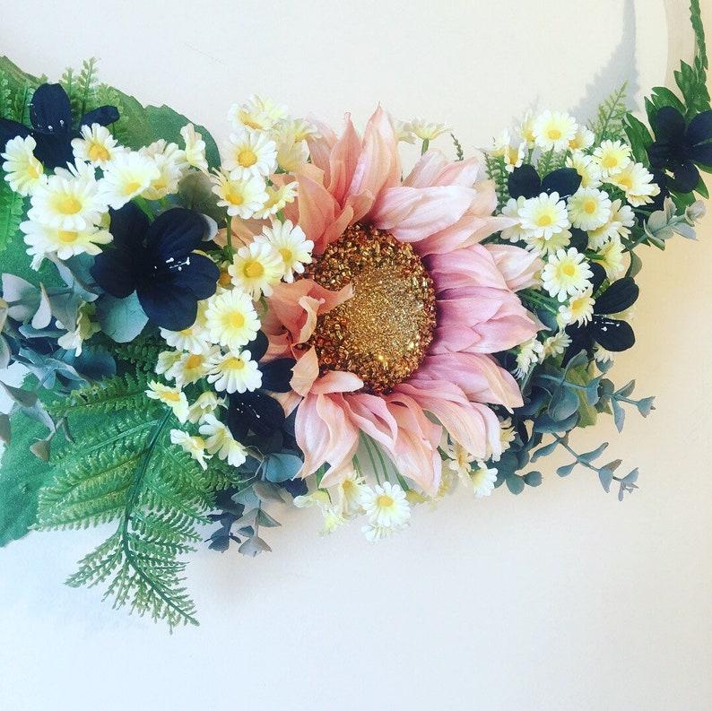 Hoop Wreath Daisies Sunflower Wreath Bejeweled Sunflower