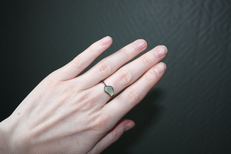 Raw prehnite copper ring  Natural crystal ring