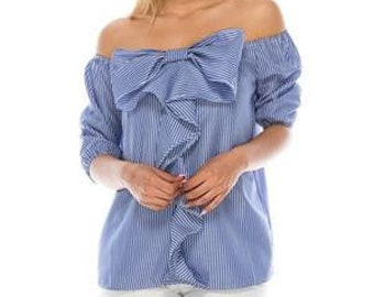 Stripe Off the shoulder ribbon bow cotton top
