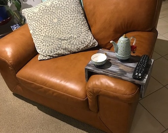 Couch sofa arm rest tray table for dinner, drinks, food, remote control