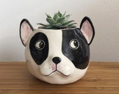 French Bulldog Puppy Succulent Planter with Drainage, Handmade Porcelain Pinch Pot