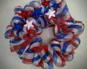 Patriotic red, white & blue wreath