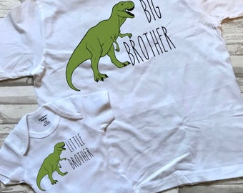 Big Brother Little Brother matching set of sibling coming home hospital shirts- bodysuit and shirt combo- Dinosaur themed outfits