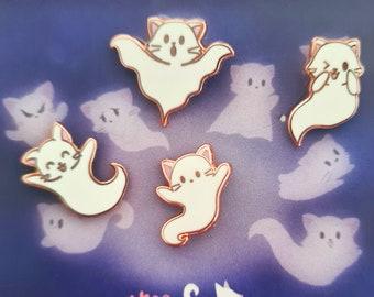 Ghost Kitties, Set of 4 - Tiny Enamel Pins, Mini Pin Set