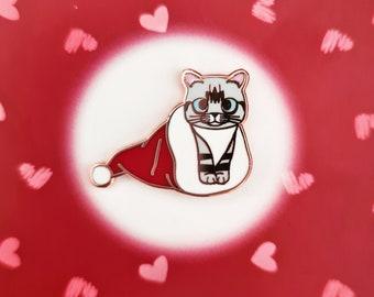 Christmas Roo - Hard Enamel Pin (Kitty Pin, Cat in Xmas Stocking)