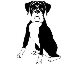 Boxer Dog Sitting Decal