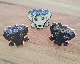 """Labrador with Sunflower Crown - Small 1"""" Enamel Pin"""