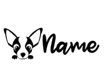 Chihuahua Dog Peeking - Personalised Decal