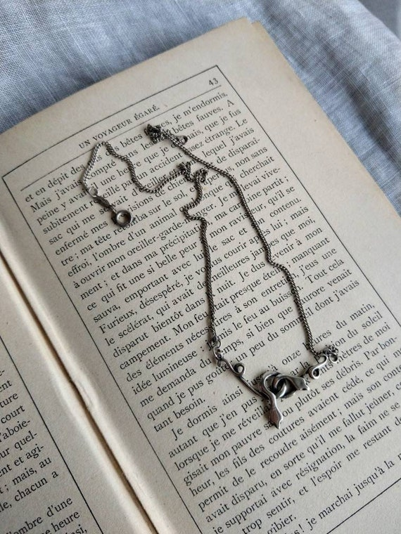 Silver double snake necklace