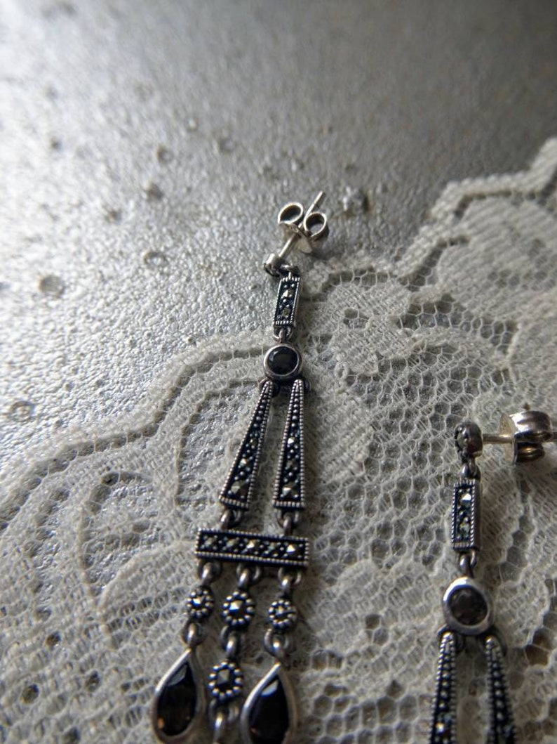 Art Deco style earrings with marcasites and smoked quartz