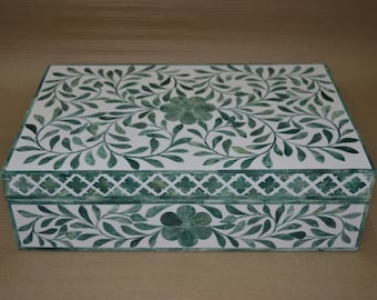Handmade Bone Inlay Box In Floral Pattern